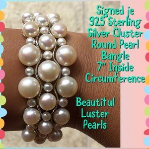Jewelry - Signed je 925 STER Silver Cluster Pearl Bangle